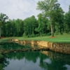A view over the water of green #5 at Great Waters Course from Reynolds Plantation