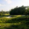 A view of a green surrounded by tricky bunkers at Echelon Golf Club