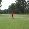 A view of a tee at Moody Quiet Pines Golf Course.