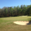 A view of a green with bunkers coming into play at Hartwell Golf Club.