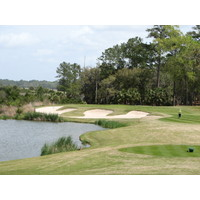 The eighth hole at Deer Creek at The Landings near Savannah, is a par 3 with water left.