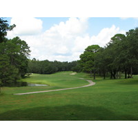 The closing hole at the Okefenokee Country Club has a two-tiered green.